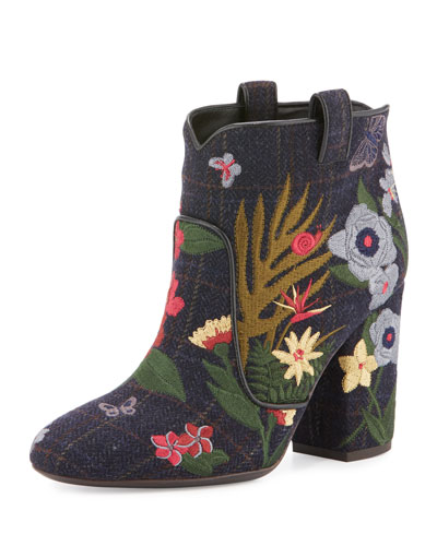 Pete Embroidered Wool Ankle Boot, Multi