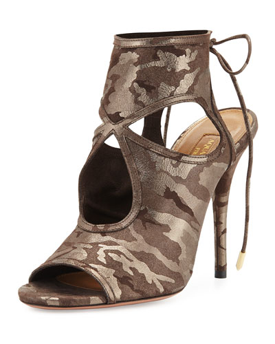 Sexy Thing Suede Cutout Sandal, Metal Camouflage