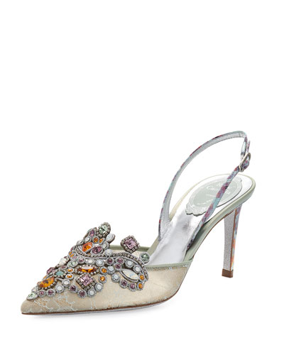 Jeweled Snakeskin Slingback 75mm Pump, Sea/Multi