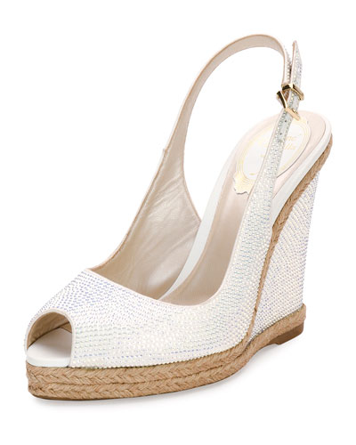 Crystal Wedge Espadrille Sandal, White
