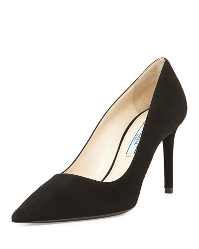 Suede Pointed-Toe 85mm Pump, Black (Nero)