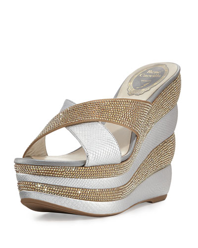 Crystal Crisscross 135mm Wedge Sandal, Gold