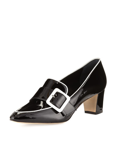 Teno Patent Buckle Loafer, Black/White