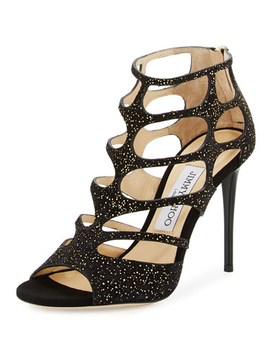 Ren Suede Caged 100mm Sandal, Black/Gold