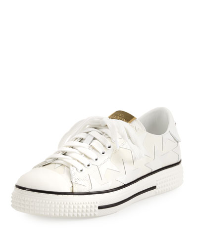 Stars Leather Low-Top Sneaker, Bianco (White)