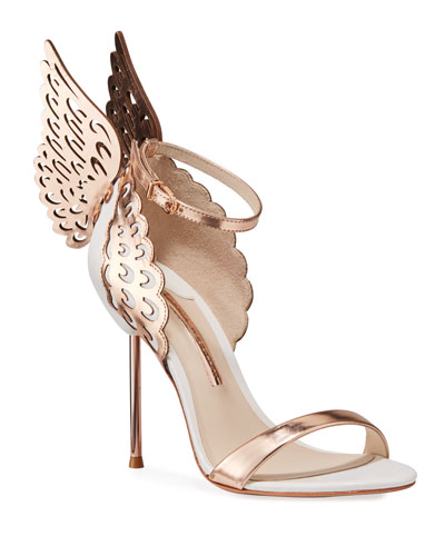 Evangeline Angel Wing Sandals, Rose Gold/White