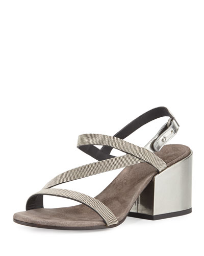 Asymmetric Monili 60mm Sandal, Silver