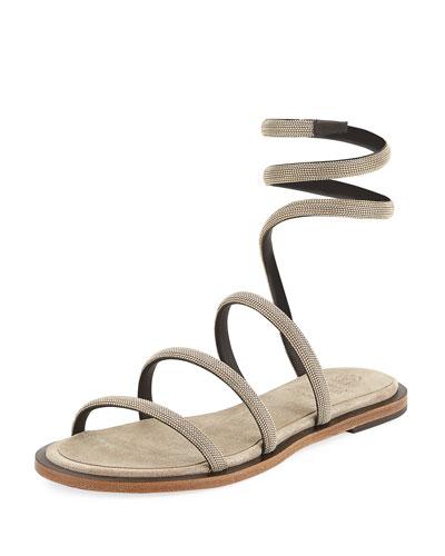 Monili Ankle-Coil Flat Sandal, Gold