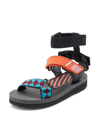 Printed Grip-Strap Sandal, Orange/Multi Pattern
