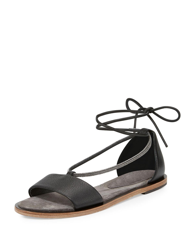 Monili Ankle-Wrap Sandal, Black