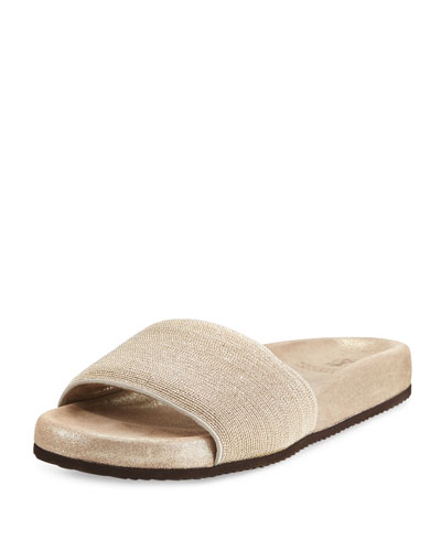 Monili Flat Slide Sandal, Gold