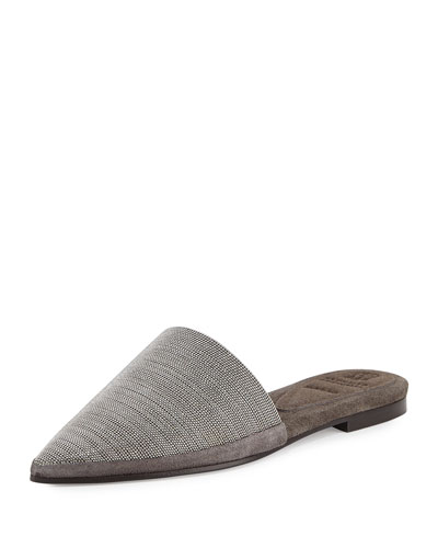Monili Pointed-Toe Mule Flat
