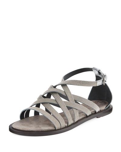 Monili Multi-Strap Flat Sandal, Silver