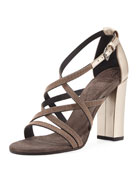 Monili-Trim Strappy Sandal, Rose Gold