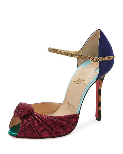 Marchavekel Mixed-Media d'Orsay Red Sole Pump, Multi