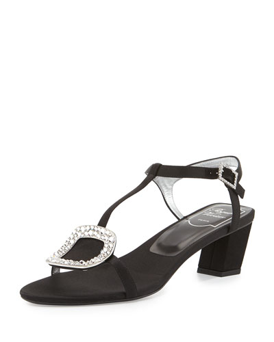 Chips Strass-Buckle T-Strap Sandal, Nero