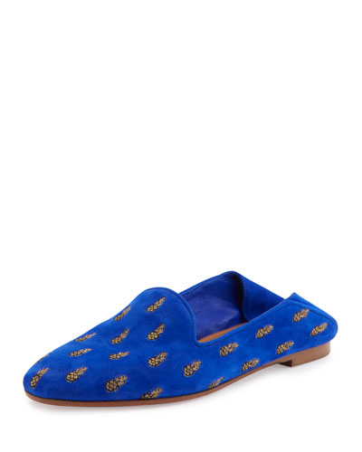 Pineapple-Embroidered Smoking Slipper, Blue