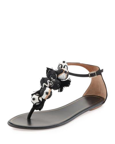 Tropicana Tassel Flat Thong Sandal, Black