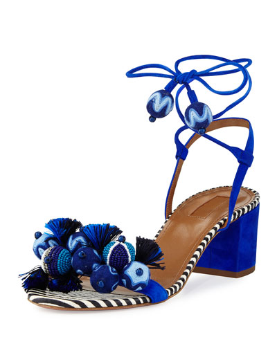 Tropicana Beaded 50mm Sandal, Blue