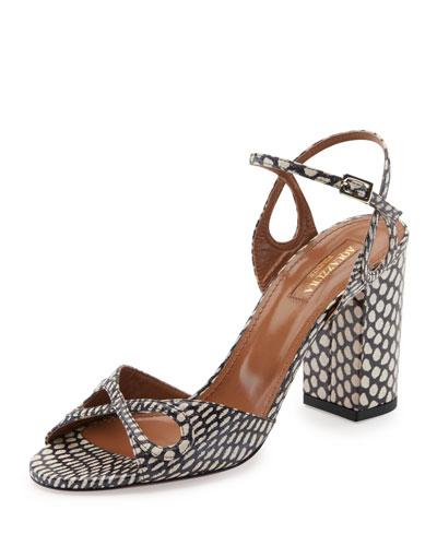 Vera Snakeskin 85mm Sandal, Multi