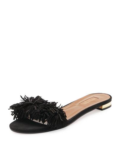 Wild Thing Suede Flat Slide Sandal, Black