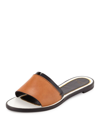 Patent-Trim Leather Slide Sandal, Natural/Black