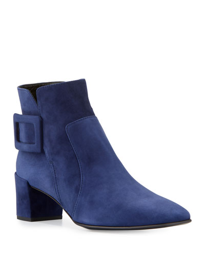 Polly Suede Buckle Bootie, Navy