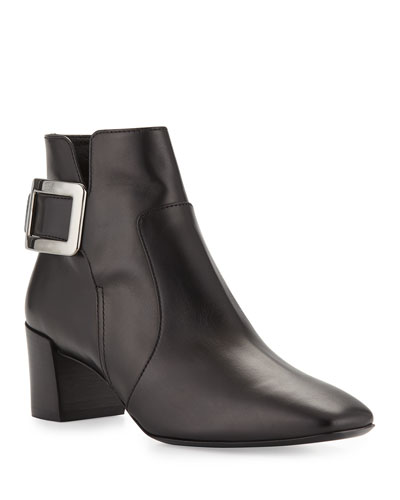 Polly Leather Side-Buckle Ankle Boots, Black