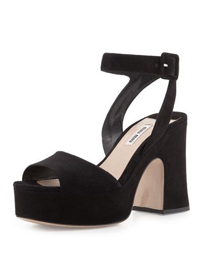Suede Platform Ankle-Wrap Sandal, Black (Nero)