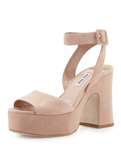 Suede Platform Ankle-Wrap Sandal, Neutral (Nudo)