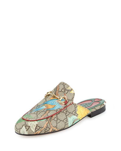 Princetown GG Canvas Horsebit Mule Slipper Flat, Multi