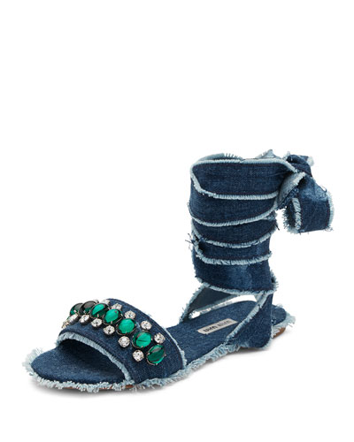 Jeweled Denim Lace-Up Sandal, Blue Pattern