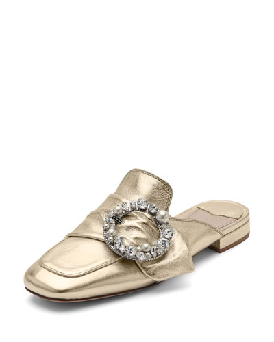 Pearly-Buckle Leather Mule, Gold