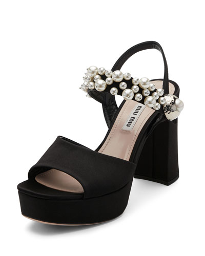 Pearly Satin Platform Sandal, Black