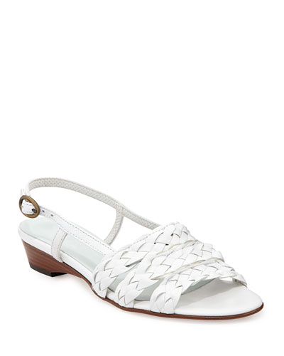 Ginny Woven Leather Slingback Sandal, White