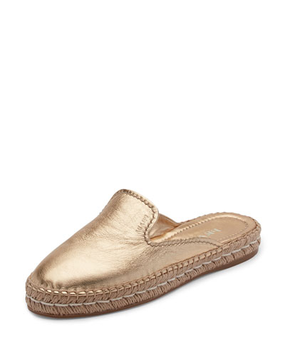 Leather Espadrille Mule, Platino