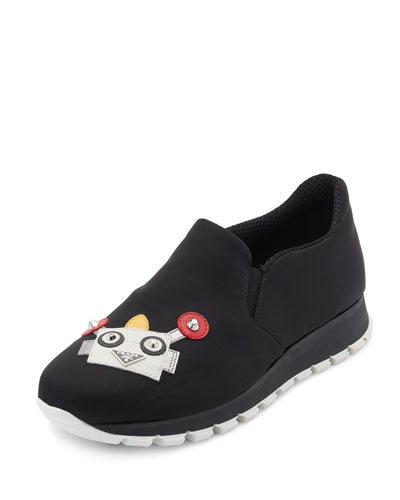 Robot-Appliqué Slip-On Sneaker, Black