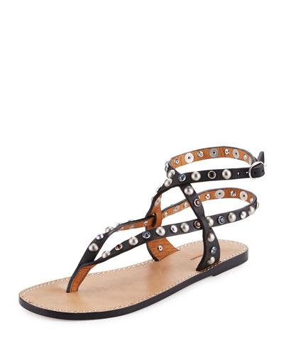 Audrio Studded Multi-Strap Sandal, Black