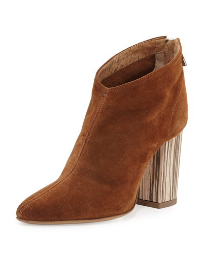 Lucciano Suede Wood-Heel Bootie, Brown