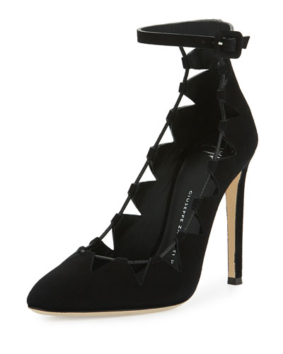 Bimba Suede Lace-Up 110mm Pump, Black