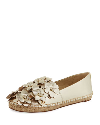 Blossom Leather Espadrille Flat, Gold