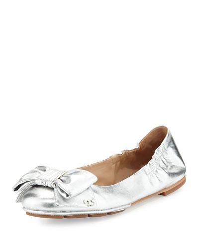 Divine Bow Driver Ballerina Flat, Silver