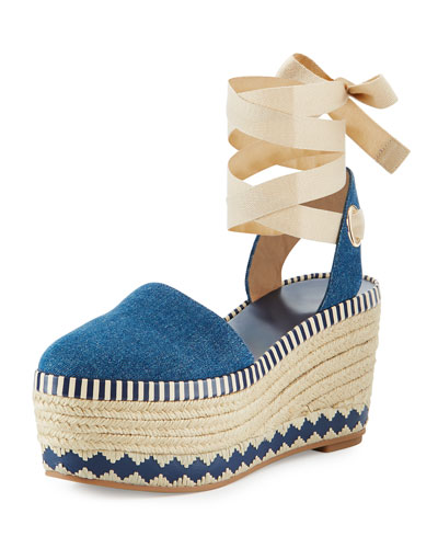 Dandy Denim Espadrille Wedge Sandal, Blue