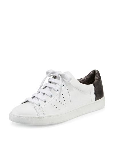 Varin Leather Low-Top Sneaker, Optic White/Gunmetal