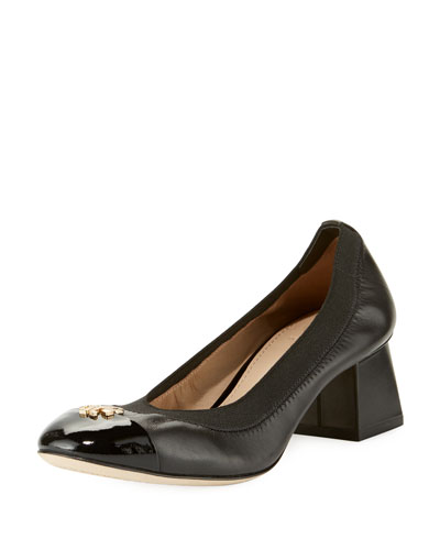 Jolie Logo Leather 50mm Pump, Black