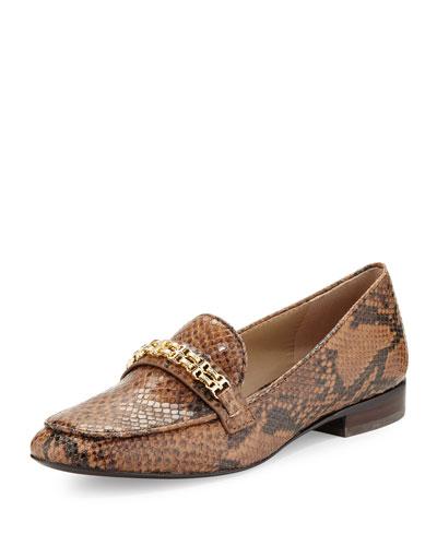 Gemini Link Snake-Embossed Loafer, Brown