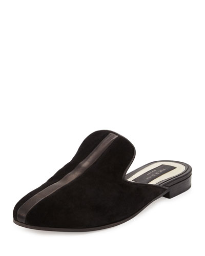 Savoy Suede Loafer Slide, Black