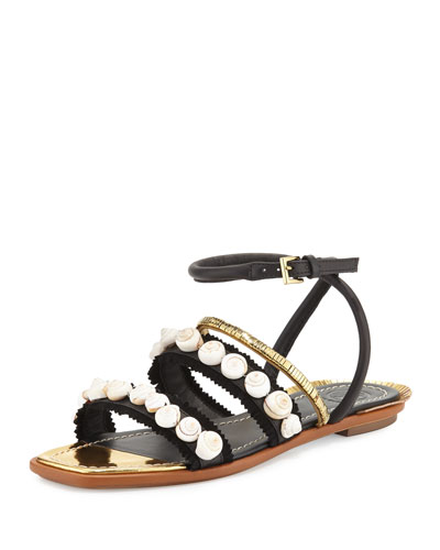 Sinclair Seashell Ankle-Wrap Sandal, Black