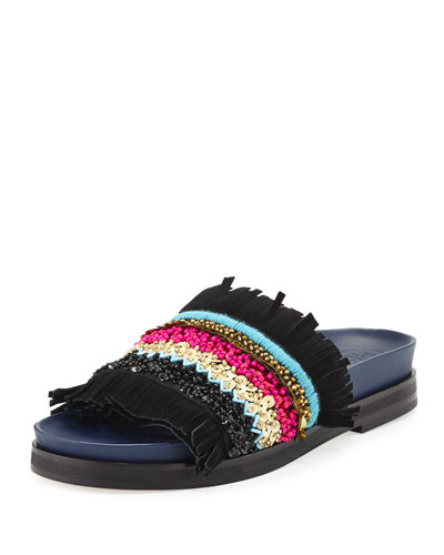 Isle Beaded Fringe Flat Slide Sandal, Black