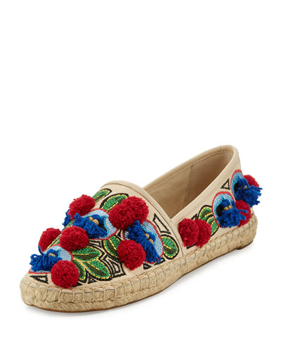 Ellis Embroidered Espadrille Flat, Beige